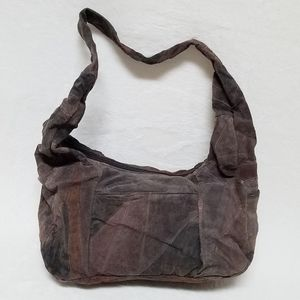 Vintage 80s Brown Patch Suede Leather Hobo Bag